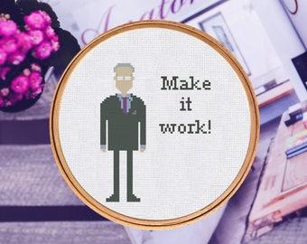 Cross Stitch Pattern Tim Gunn - Make it work Instant Download PDF Counted Chart