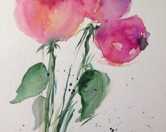 ORIGINAL WATERCOLOR art watercolor painting flowers art pictures of watercolour flowers unique