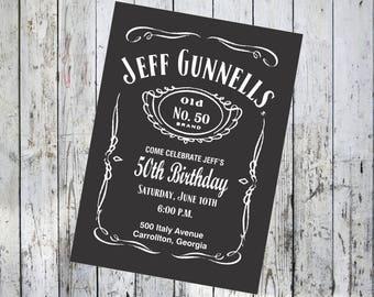 Black Birthday Invitation with optional Thank You card