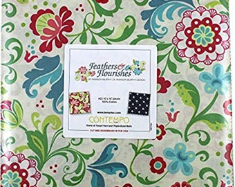 "Benartex - Feather and Flourishes 10"" X 10"" Pack/Layer Cake by Amanda Murphy - 42, 10"" x 10"" Precut Fabric Squares"