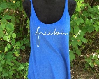Freebin Records BLUE Slouchy Tank FBR Ladies Top Women's Tri-blend