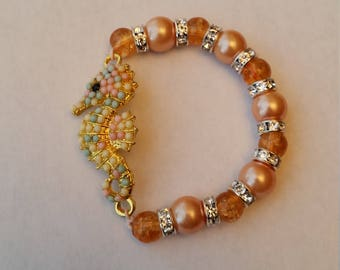 Coral Hair Bracelet with large seahorse