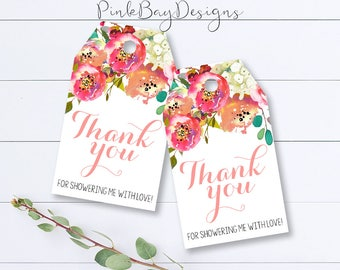 Floral Thank You Tag, Floral Thank You Favor, Instant Download, Printable Thank You Tags, Bridal Shower Thank You, Baby Shower Thank You