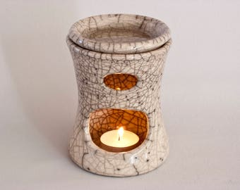 Euomia marvel - Raku fired ceramic oil burner, oil warmer