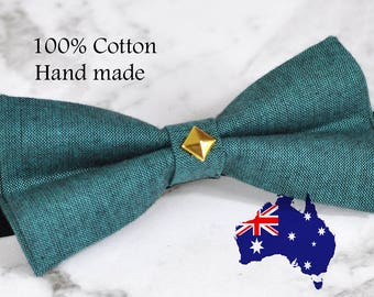 MEN Women 100% Cotton Matte Peacock Green Gold Rivet Bow Tie Bowtie Wedding