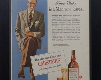Carstairs White Seal Blended Whiskey, Dave Blake, Vintage Alcohol Ad, Man Cave Decor, Mad Man Decor, Wall Decor, Illustrated