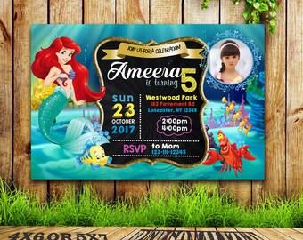 Little Mermaid Invitation, Little Mermaid Birthday Invitation ,Little Mermaid Party, Little Mermaid Invitations , Ariel, Under The Sea,FD