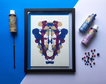 The kid-Print of a handmade abstract painting to decorate your home.