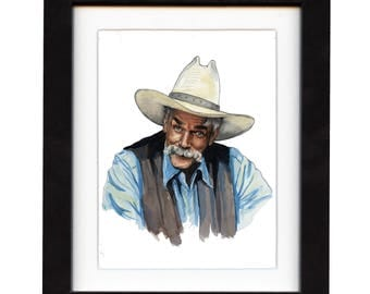 art, sam elliott, art print, print, ranch, cowboy art, cowboy, gift, hat, old, western, decor, wall art, portrait, famous, saltwatercolors