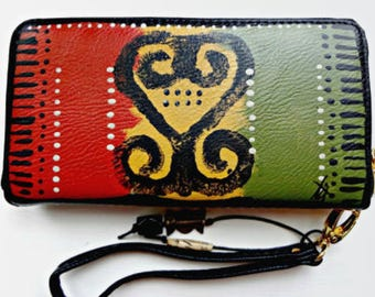 Hand-painted Vegan Leather Sankofa Wallet by Tribal Immunity