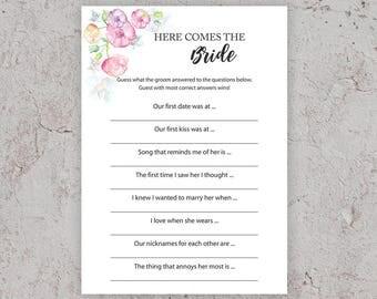 Here Comes the Bride, Bridal Shower Games, Printable Cards, Pink Bridal Shower, Watercolor, DIY Games Printable, Instant Download, J010