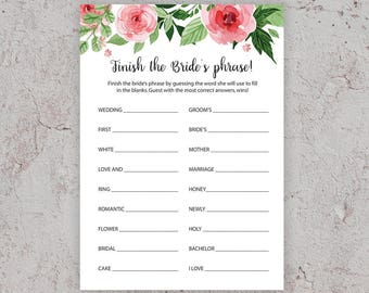 Finish the Bride's Phrase, Bridal Shower Games, Finish the Phrase Game, Floral Bridal Shower, Bachelorette Party Games, Phrase, J003