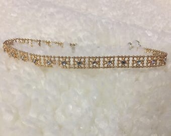 Dainty elegant gold choker with silver accents