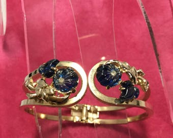 SAPPHIRE BLUE Molded Glass/Fruit Salad Clamper Style Bracelet