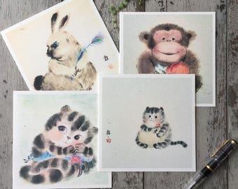 Animal Cards,Animal Birthday Card, Art Card, Cat Card, Monkey Art, Rabbit Card, Blank Greeting Card Pack, Blank Inside Cards, Handmade Cards