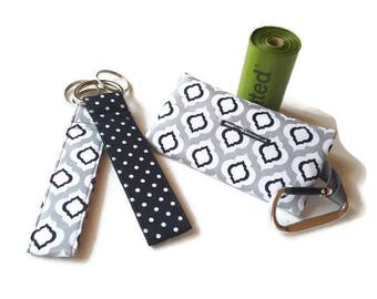 Dog Poop Bag Holder, Waste Bag Dispenser, Refuse Bag Container, Gray, Black and White, Black Polka Dots, Matching Key Chains Available!