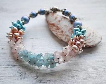 Pearl bracelet Gentle blue and rose