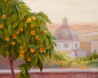 Giardino Degli Aranci Rome Italy Oil Painting Canvas Art Original Painting Impressionism Painting Impressionism Art Wall Art