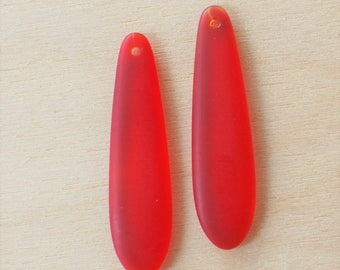 2 pcs Cherry Red Sea Glass Pendant - Elongated Puffed Teardrop (38x10mm) - Drilled Cultured Seaglass