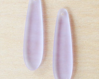 2 pcs Periwinkle Purple Sea Glass Pendant - Elongated Puffed Teardrop (38x10mm) - Drilled Cultured Seaglass