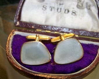 Stunning Vintage Real Mother of Pearl & Gold Men's Cufflinks