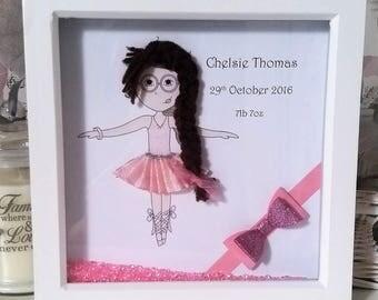 Personalised baby/girl box frame, ballerina, wool hair, tutu wall decor