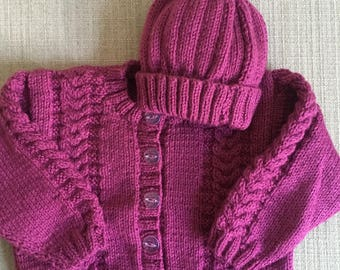 9-12 Month Cardigan with Matching Beanie Hat