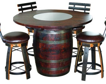 Jack Daniels Whiskey Barrel Table (Oak Top With Dark Stain), With 4 Cushion