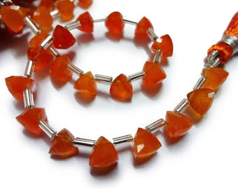 """AAA Grade CARNELIAN Faceted Briolette Trillion beads,Side Drilled, Size 6 mm, 6"""" Strand, Faceted Trillions, Super for Jewellery"""