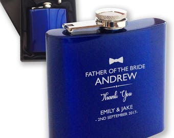 Personalised engraved FATHER of the GROOM hip flask WEDDING gift idea, blue reflective stainless steel presentation box, bow tie - HPF1