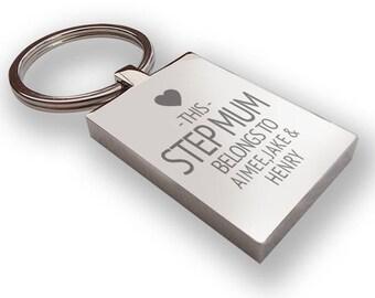 Personalised engraved This STEP MUM stepmother belongs to KEYRING gift, metal keyring - LG12
