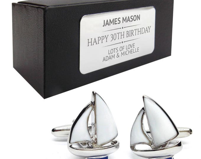 Yacht boating nautical sailing CUFFLINKS 30th, 40th, 50th, 60th, 70th birthday gift, presentation box PERSONALISED ENGRAVED plate - 009