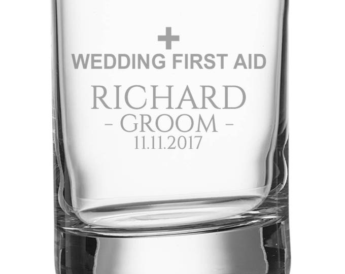 Engraved GROOM shot glass, personalised glasse, wedding bomboniere wedding favours, wedding first aid - SH-WFA1