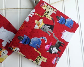 """Reusable Snack bag with velcro closure / In stock and ready to ship / """"Cats in Hats"""""""