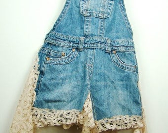 Customised vintage denim dungarees dress with cream lace detailing 6 XS