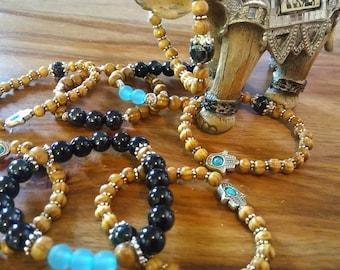 Bracelet, hand Hall wood bead, glass bead, namaste