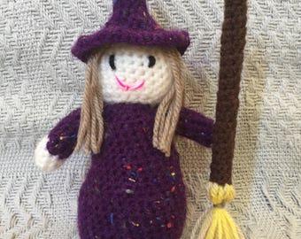 Handmade Crochet Halloween Witch Toy