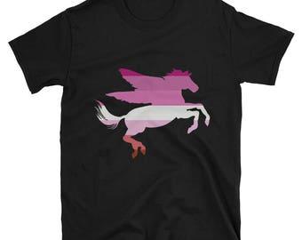 Lesbian Pride Pegasus Unisex T-Shirt lgbtq lgbt lgbtqipa queer gay transgender mogai
