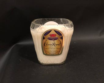 1 Liter vs 750ML Crown Royal Candle Whiskey Bottle Soy Candle With/Without Pedestal Base. Made To Order !!!!!!