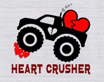Boys Valentine's SVG file- Valentines Truck SVG cut file- Monster Truck Svg- Cricut Valentine Svg files for Shirts- Silhouette - Valentine