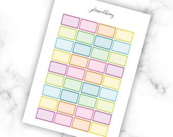 MULTICOLOUR Half Boxes // Printable Planner Stickers / Erin Condren Plum Paper Happy Planner Filofax Inkwell Press Functional Rainbow