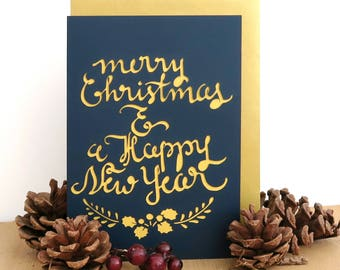 Merry Christmas card, Happy New Year card, Christmas papercut card, Christmas calligraphy card, Winter holiday cards, Christmas card set
