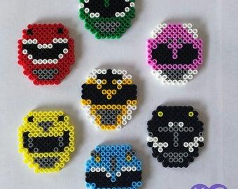 Power Rangers, Fridge magnets, perler beads, bead art, Rangers, Power magnets, Fridge art, 8bit, pixel art, Coloured beads, Bead magnets
