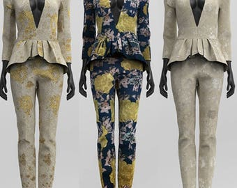 Custom Made Vintage Brocade Pant Suit with Peplum Blazer