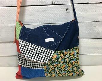 Hobo style Messenger bag flap, AOR, soft, summer, patchwork, Orange