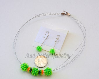 Green and Orange Sputnik Jewelry Set