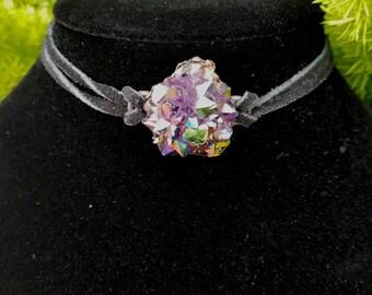 Aura Rainbow Titanium Amethyst Flower Choker, Amethyst Choker, Aura Crystal Choker