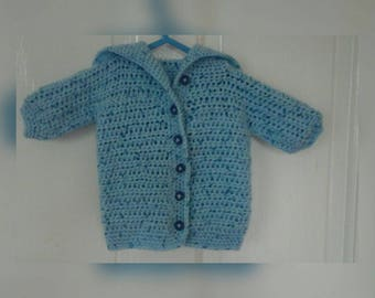 Newborn blue speckled baby cardigan