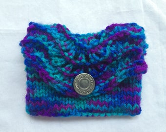 Gift card holder, hand knit wallet, gift card envelope, knitted envelope, gift card wallet, business card holder, gift bag, blue card holder