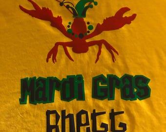 Mardi Gras crawfish with name